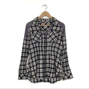 Free People Flannel Patch Shoulder Button Down Top